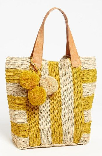 Mar y Sol 'Havana' Stripe Tote, Extra Large available at #Nordstrom  Inspiration. No poms.
