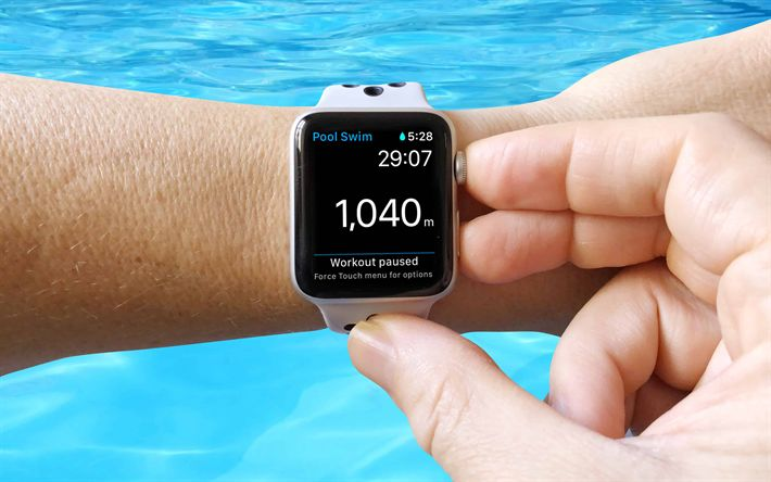 Download wallpapers Apple Watch, swimming pool, 4k, modern device, wristwatch, swim workout, Apple