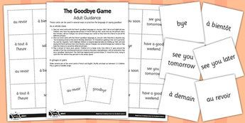 French Goodbye Game Cards - french, goodbye, game, cards, bye
