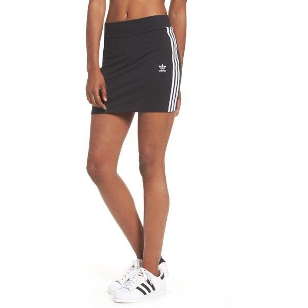 Women's Adidas Originals 3-Stripes Miniskirt ($30) ❤ liked on Polyvore featuring skirts, mini skirts, black, slimming skirts, striped short skirt, striped skirts, stretch skirts and striped mini skirt