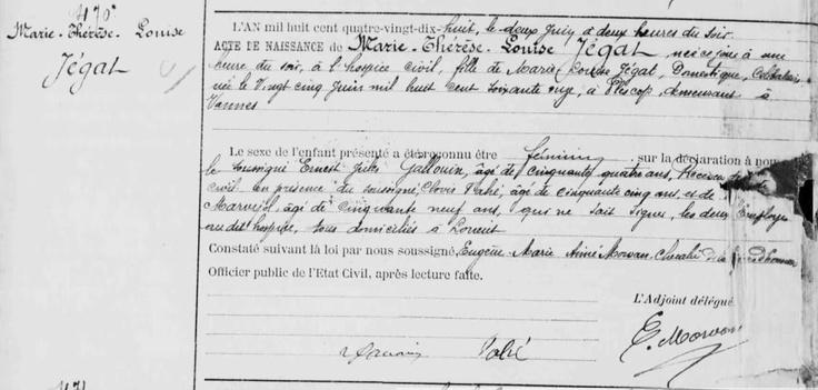 Acte de naissance de Marie-Thérèse BARDET, née JÉGAT en 1898 à Lorient (56), doyenne des Français et des Européens qui a fêté ses 114 ans le 2 juin 2012. © Archives Municipales de Lorient (Morbihan)