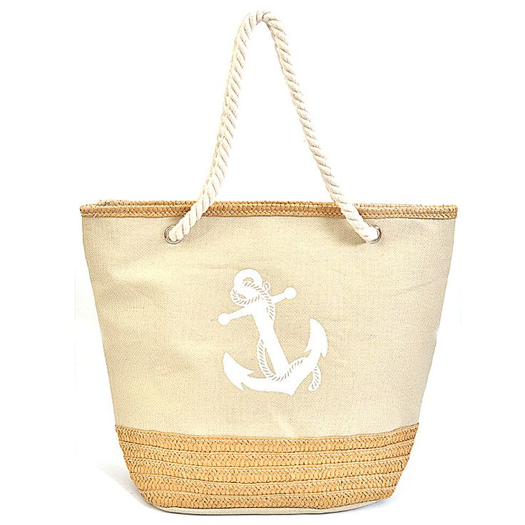 Anchor Print Large Canvas Shopper Bag