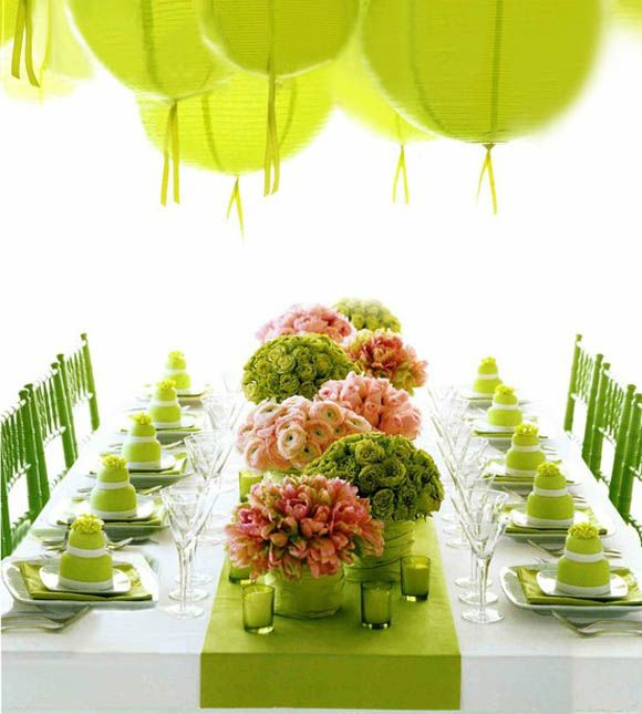 Spring Colors, Green And Pink, Laterns Centerpieces Flowers Table Setting