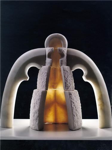 Mehmet Aksoy, İki Çocuklu Kibele  Yük: 50 cm.  1997  Mermer  İmzalı