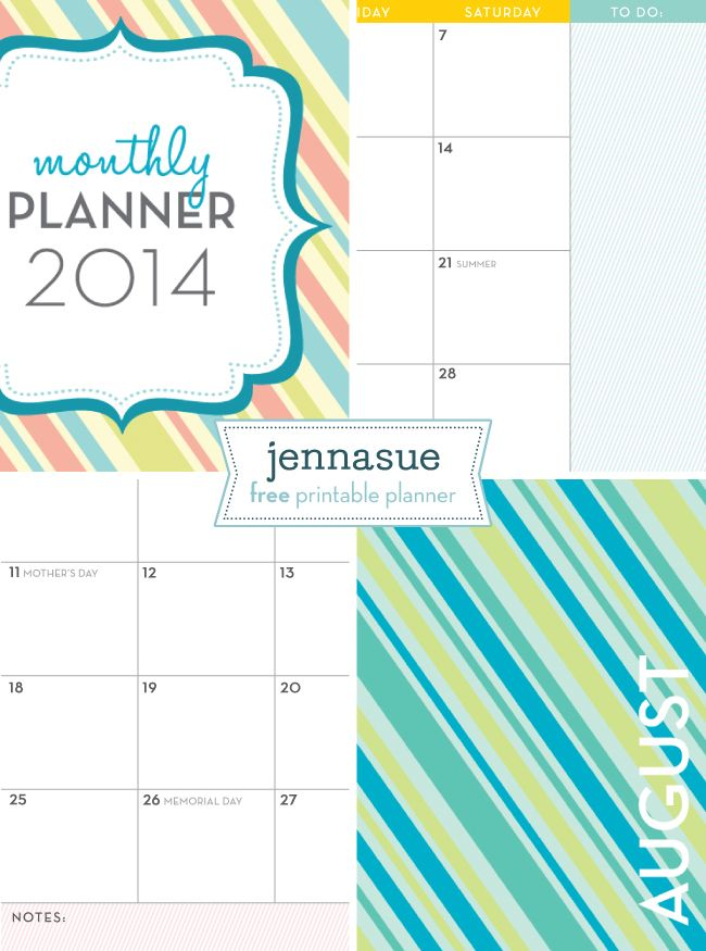 Jenna Sue: Free 2014 Monthly Planner {on Facebook}