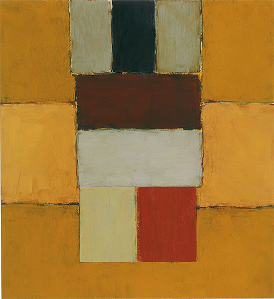 """sean scully - """"stacked yellow figure"""", oil on canvas, 2002."""