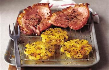 Grilled gammon steaks with caramelised black pepper pineapple