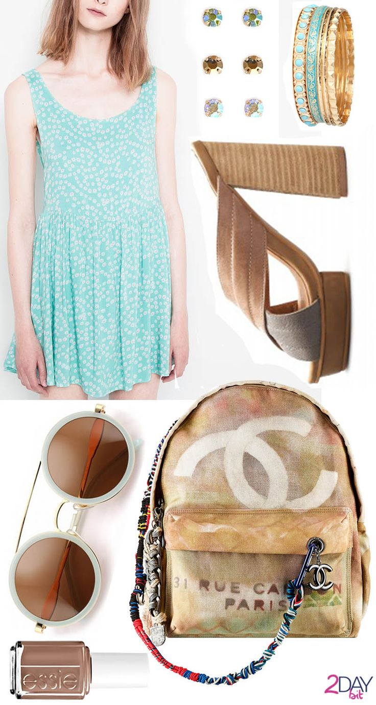 2DayBit - Light-blue & Sand Credits: Pull&Bear – Floral Print Dress Chanel – Backpack Jeffrey Campbell – Platforms Sylvan  Forever21: Pastel Stud Set and Chic Bejeweled Bangle Set Wildfox – Winona Sunglasses Essie – Nail Polish (color: fierce, no fear)