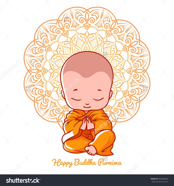 Little Meditating Monk. Greeting Card For Buddha Birthday. Vector Cartoon Illustration Isolated On A White Background. - 403298620 : Shutterstock