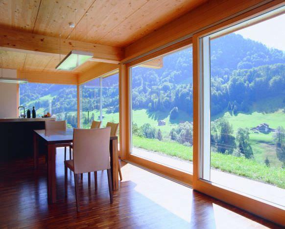 baie vitr e coulissante en bois en aluminium. Black Bedroom Furniture Sets. Home Design Ideas