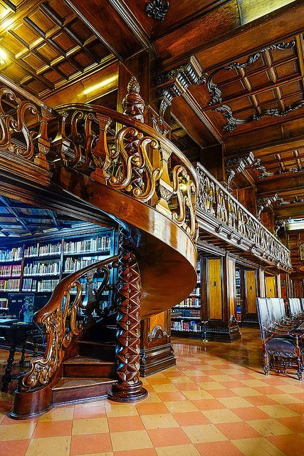 steampunktendencies:  Spiral Staircase, Public Library, Lima, Peru Facebook |  Google + | Twitter   Steampunk Tendencies Official Group
