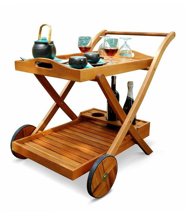 Look at this Eucalyptus Wood Outdoor Serving Cart on #zulily today!