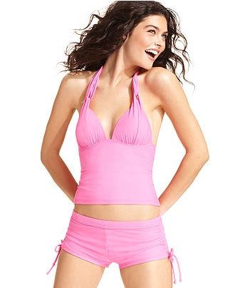 Hula Honey Swimsuit, Solid Halter Tankini Top & Solid Side-Tie Boy Shorts - Swimwear - Women - Macys