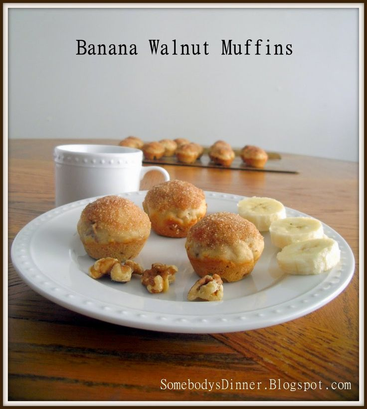 Banana Walnut Muffins Recipe--with cinnamon sugar topping and whole ...