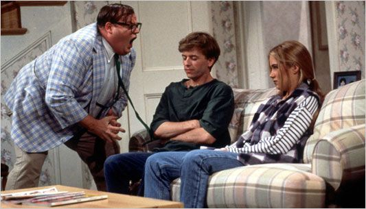 """Chris Farley at Matt Foley Motivational Speaker...""""I am 35 years old, divorced, and living in a van down by the river!""""  So FUNNY!!!"""