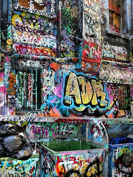 Ever-changing graffiti art on the walls of Hosier Lane, Melbourne, Australia