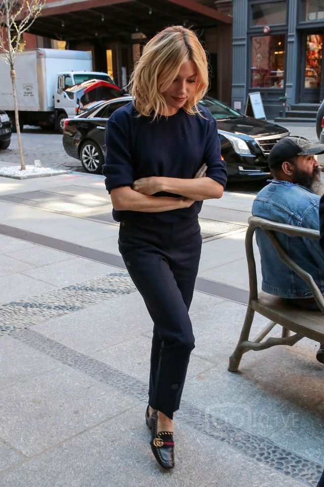 Sienna Miller wearing  Gucci Peyton Studded Square-Toe Loafer, Trademark Stretch-Cotton Blend Trousers