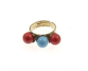 Dark red and blue ring, by Art Wear Dimitriadis -Handmade-
