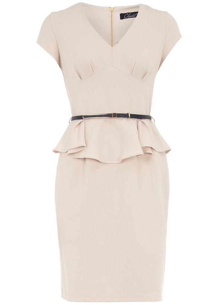 Pretty - like the silhouette: Prom Dress, Closet, Dresses Nude Peplum, Work Dresses, Peplum Dresses, Pink Dress Work