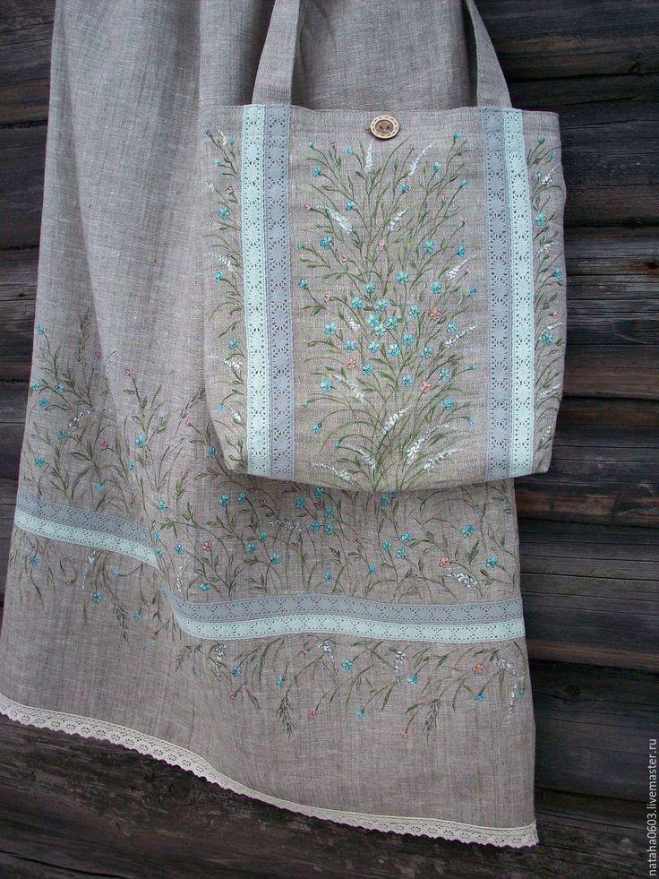 Купить Льняная юбка с ручной росписью....Нежность незабудки...Бохо.. - рисунок, незабудки юбка сумка