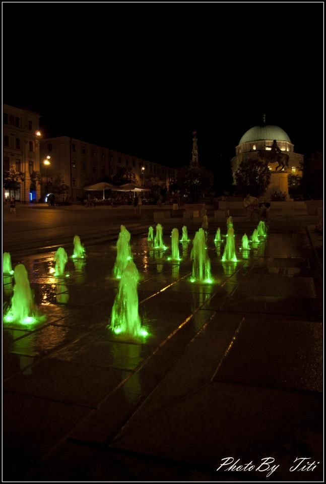 The dancing water fountains in Széchenyi Square, Pécs. Interesting story: they were originally designed to be capable of shooting more than 3 metres into the air, but local shopkeepers asked to have them scaled back to avoid scaring customers!