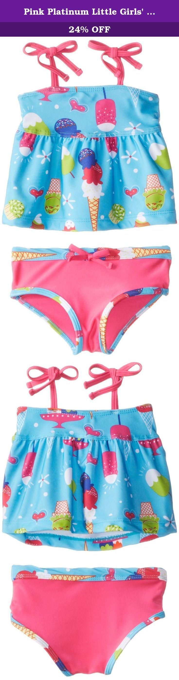 Pink Platinum Little Girls' Ice Cream Tankini, Turquoise, 2T. All over ice cream printed tankini.