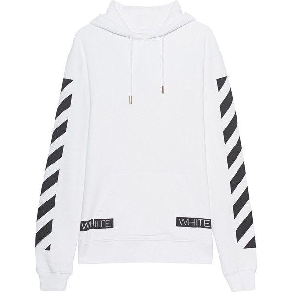 OFF-WHITE C/O VIRGIL ABLOH Blue Collar Hood White // Cotton hoodie... (6,830 MXN) ❤ liked on Polyvore featuring men's fashion, men's clothing, men's hoodies, mens sweatshirts and hoodies, mens short sleeve hoodies, mens patterned hoodies, mens hoodies and mens cotton hoodies