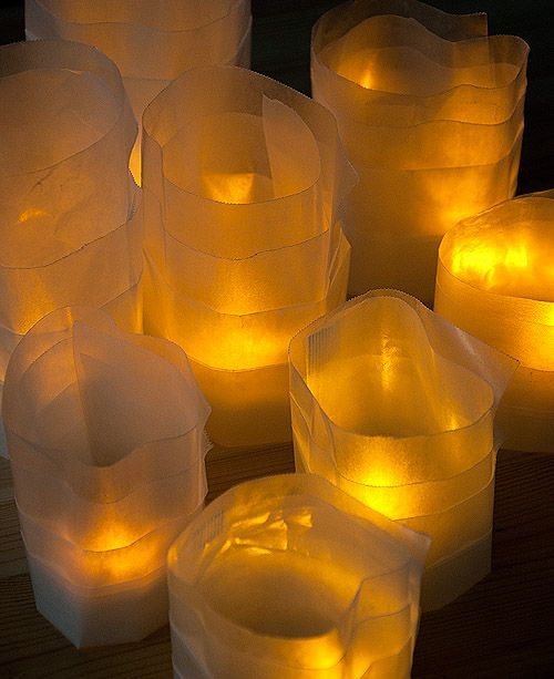 battery tea lights upgraded with waxed paper ---super easy!