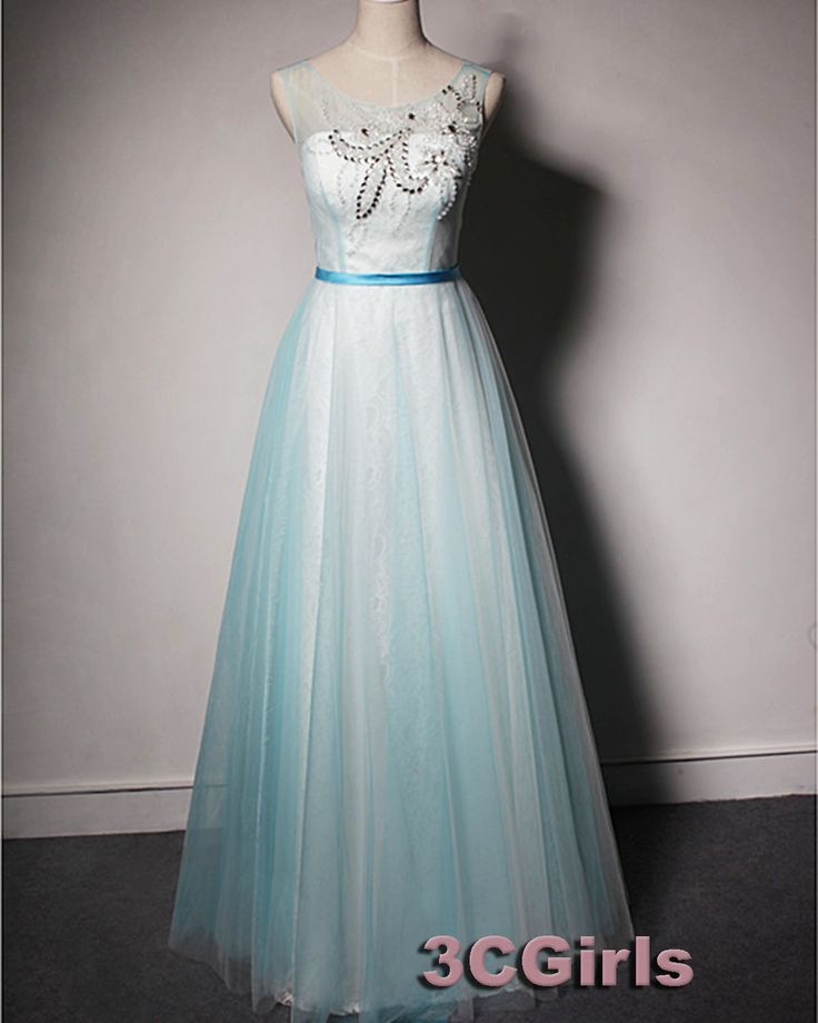 2016 beaded blue tulle open back long prom dress with beautiful top details, ball gown, prom dresses for teens