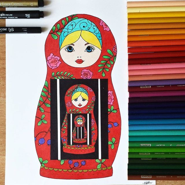 • Do you let your culture inspire you, or do you let it suffocate you? •  Matryoshka or Russian doll by Michelle Takamori (@demonicdreamsart) on Instagram and Facebook, using prismacolor pencils