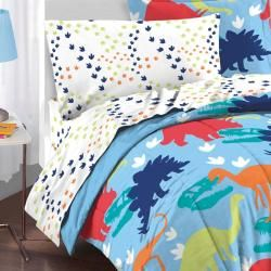 Create the bedroom of their dreams with this bed in a bag set. This bright multicolor comforter set features a prehistoric dinosaur theme.