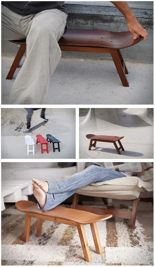 Build your own skateboard deck chair/bench