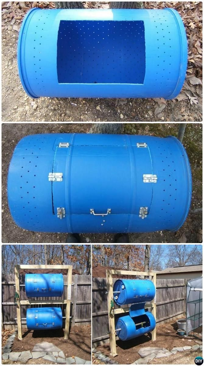 DIY Double-Decker Drum Composter Bin Instruction-12 Simple DIY Compost Bin Projects