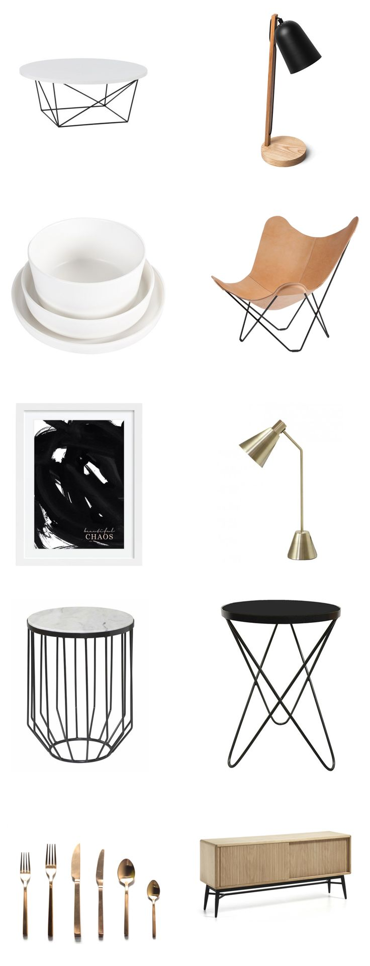 INSPIRED: MELBOURNE HOMEWARES — Studio Gabrielle. COCO AND CREME - Round Gloss White Coffee Table, Bell Lamp Black, Mint Home Sophia White Matte, Pampa Mariposa Crude Nature, Beautiful Chaos White Frame, Arigato Brass Lamp, Abode Marble Table, Astrid Black Marble Table, Brushed Cutlery Set Gold, Hendrix Sideboard.