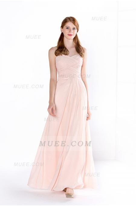 Pearl Pink Pleated Bodice Long A-Line Chiffon Bridesamid Dress