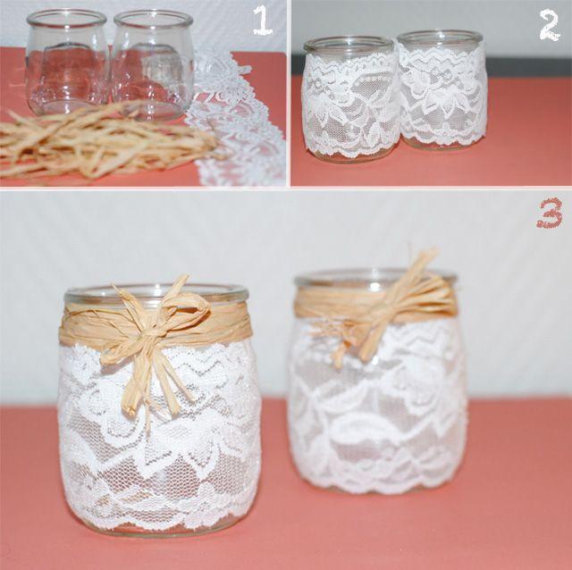 petits vases pots de yaourt dentelle raffia