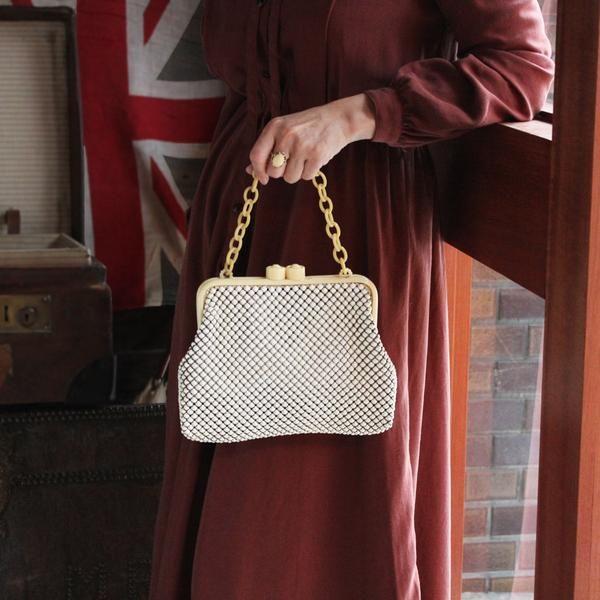 C.1960s Vintage Plastic Chain Metal Beads Bag (Cream) / ヴィンテージ・ハンドバッグ