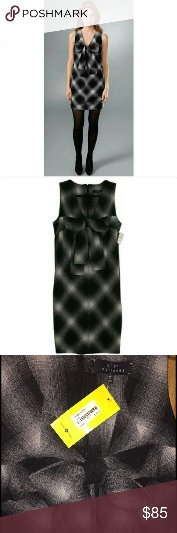 """NWT Robert Rodriguez """"Shadow Plaid"""" dress NWT Robert Rodriguez """"Shadow Plaid"""" dress. The designer is loved by celebrities like Nicole Kidman & Ariana Grande. Very stylish sleeveless dress, beautiful large bow on chest. This dress can be worn to a formal event or pair with tights & flats for a more casual look. 75% wool, 25% nylon (this is the first piece of clothing I have owned that was wool and did not feel itchy). This dress is extremely comfortable & is also lined with a very silky…"""