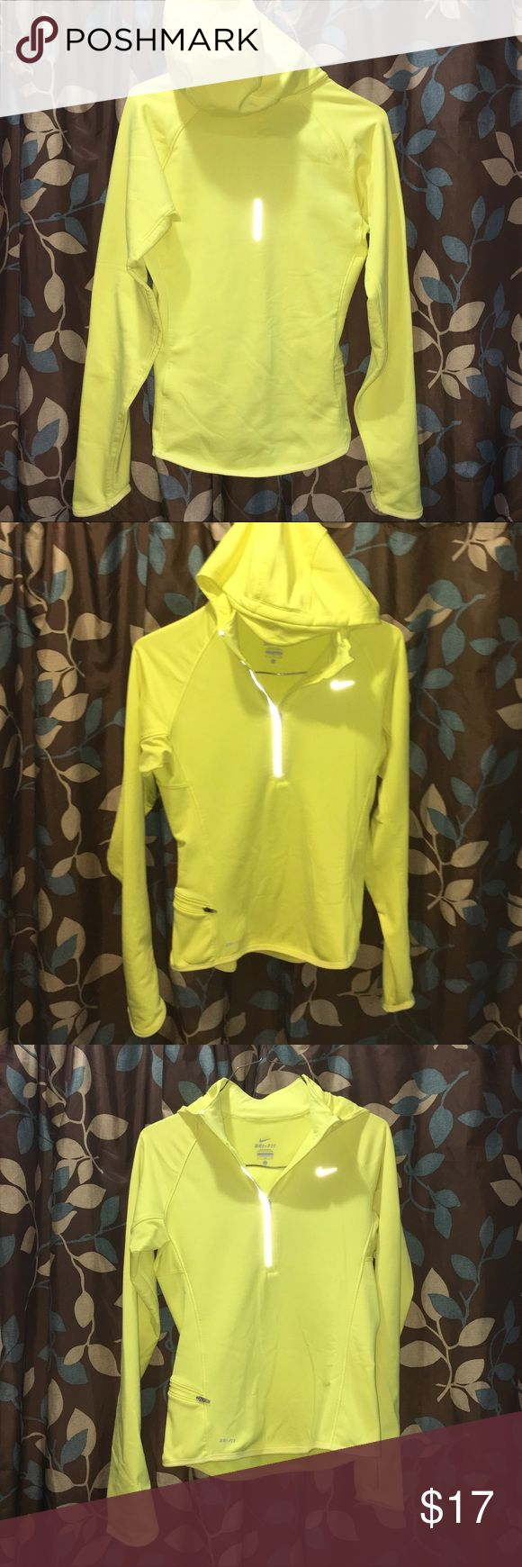 "Nike Reflecting Pullover Hoodie! Activewear Yellow Nike Pullover Hoodie! Reflecting! Perfect for outdoor activities like running, riding, etc. In Great Condition, Except there is some light stains on the Right Arm Sleeve ( mud I believe) & also what looks like a Pen mark on the Front, same. Women's Size Small. I am including measurements, Please make sure this will fit before purchasing. Laying Flat Unstretched from Armpit to Armpit is 17 1/2"". From top of Shoulder to Bottom Hem: Front is…"