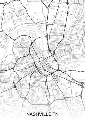 Nashville TN USA Street Map | North America Street Maps | road map ...