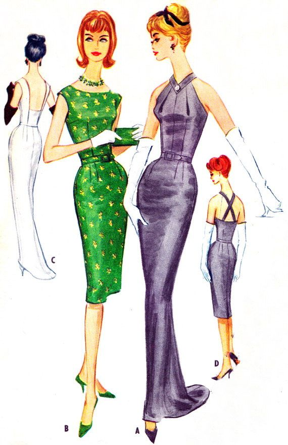1960s McCalls 5618 Halter Neck Evening Dress with Train Sheath Dress with Plunging Back Womens Vintage Sewing Pattern Bust 32 Uncut via Etsy
