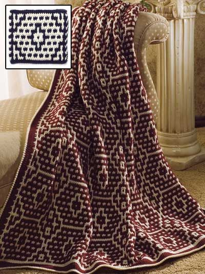 """Mosaic Pottery Afghan  Add a touch of the Southwest with an afghan stitched in medium (worsted) weight yarn and size H hook. 48"""" x 64""""."""