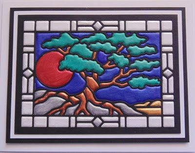 5/30/17.   Inky Finger Zone: Faux Quilted Bonsai Stained Glass Window