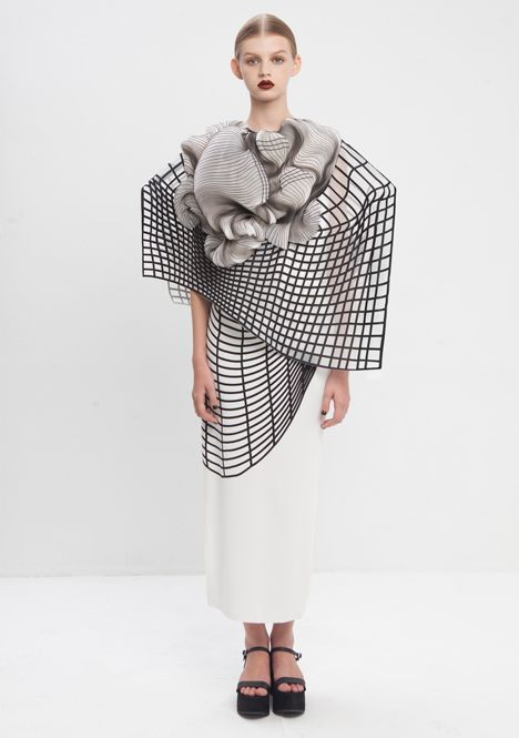 Noa Raviv has integrated 3D-printed elements into ruffled garments influenced by distorted digital drawings.