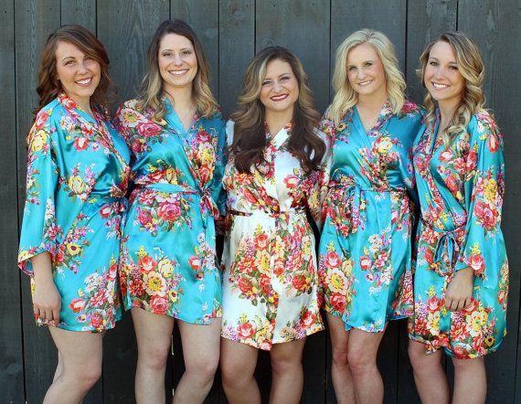 Bridesmaid Robe Set a 4 - Floral Bridesmaid Robes- Cheap - Flower Bridesmaid Robe - Gift Set - Satin Short Robe - Wedding - Bridal Party