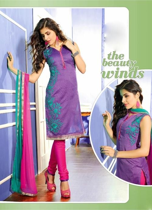 Traditionally Purple & Pink Chiffon Based #Salwar #Suit With Resham Work #churidarsuits #ethnicwear #womenapparel #womenfashion