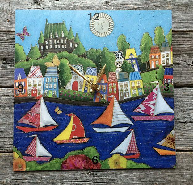 """Horloge murale carré 12"""" - illustration - Château Frontenac et les voiliers de la boutique IsamaloArtiste sur Etsy"""