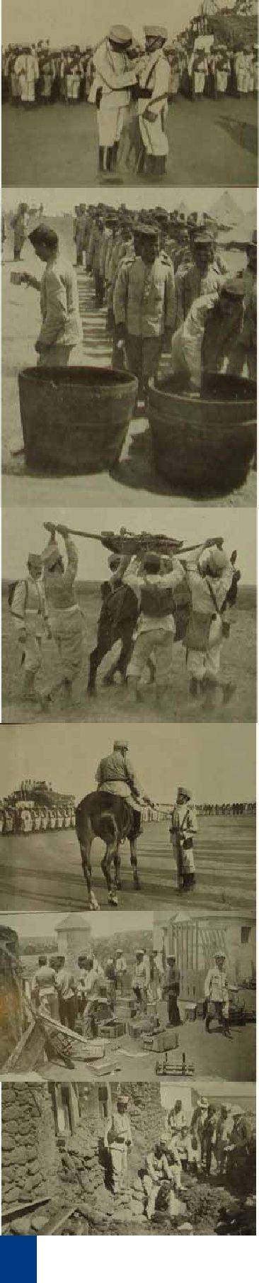 V ISSN 1133-598X · Vegueta·12/2012 · página 71 Paisanos ayudando a los soldados a preparar un convoy de municiones en el campamento del Hipo-dromo.Cargando sobre una mula un cañón de montaña. El general Marina arengando a las tropas en el solemne acto vericado el día 25 de agosto pasado en el campamento del Hipódromo para imponer la Cruz del Mérito Militar con distintivo rojo al cabo del batallón de cazadores de Estella José Calvo (x) que en uno de los combates librados contra los rifeños…