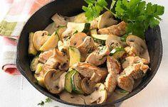 Putenpfanne mit Zucchini und Champignons - Kohlenhydratfreie Rezepte für die Low carb Diät