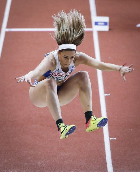 Paraskevi Papahristou of Greece competes in the Women's Triple Jump qualification on day one of the 2017 European Athletics Indoor Championships at the Kombank Arena on March 3, 2017 in Belgrade, Serbia.